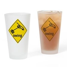 Helicopter Swing Caution Sign. Drinking Glass