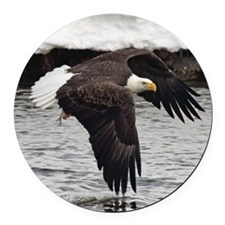 Eagle, Fish in Talons Round Car Magnet