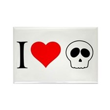 i heart skull Rectangle Magnet