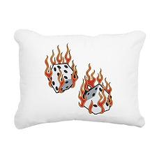 Flaming Dice Rectangular Canvas Pillow
