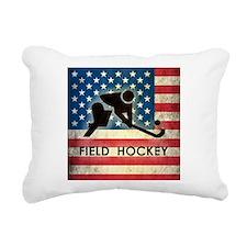 Grunge USA Field Hockey Rectangular Canvas Pillow