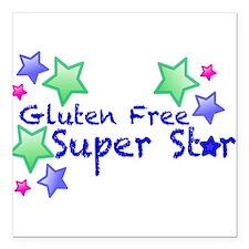 """Gluten Free Super Star Square Car Magnet 3"""" x 3"""""""