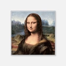 "Mona Lisa Painting / Portrait Square Sticker 3"" x"