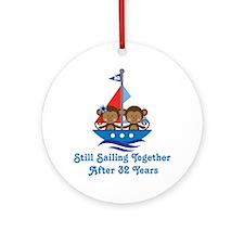32nd Anniversary Sailing Ornament (Round)