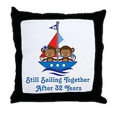 32nd Anniversary Sailing Throw Pillow