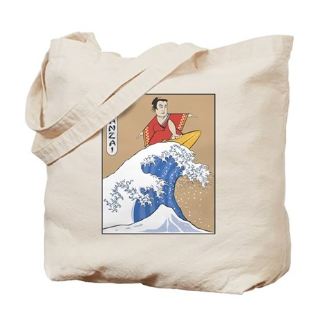 Retro Parody Japan Surf Print Tote Bag