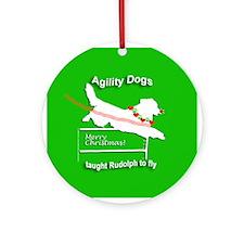 Christmas Agility Dog Rudolph Ornament (Round)