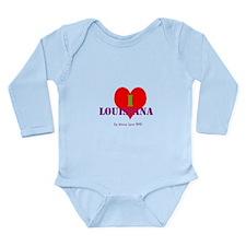 I Love Louisiana Heart Long Sleeve Infant Bodysuit