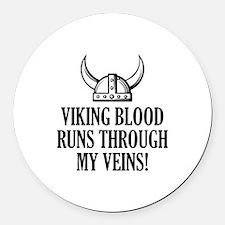 Viking Blood Runs Through My Veins! Round Car Magn