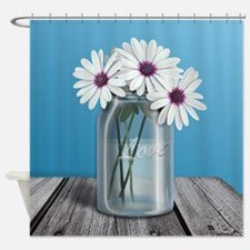 White and Purple Daisy Mason Jar Blue Shower Curta