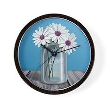 White and Purple Daisy Mason Jar Blue Wall Clock