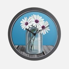 White and Purple Daisy Mason Jar Blue Wall Clock