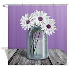 White and Purple Daisy Mason Jar Purple Shower Cur