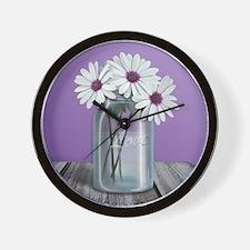 White and Purple Daisy Mason Jar Purple Wall Clock