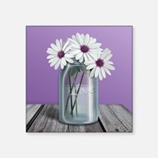 White and Purple Daisy Mason Jar Purple Square Sti