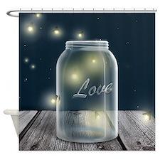 Midnight Fireflies Mason Jar Shower Curtain