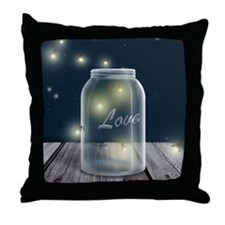 Midnight Fireflies Mason Jar Throw Pillow