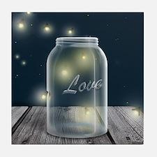 Midnight Fireflies Mason Jar Tile Coaster