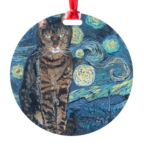 """Starry Night Life"" Round Ornament"