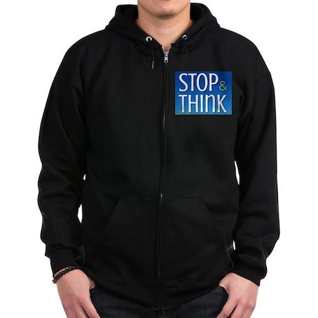 Stop Think Zip Hoodie (dark)