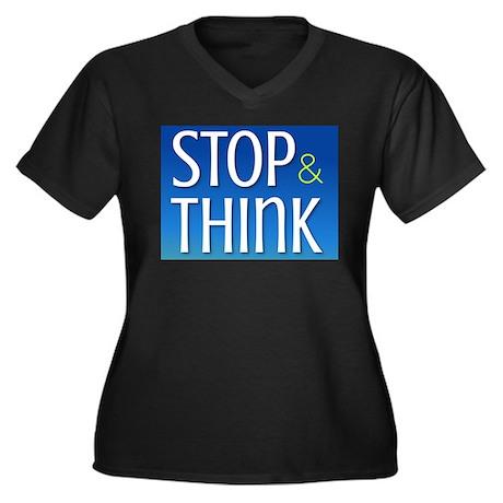 Stop Think Women's Plus Size V-Neck Dark T-Shirt