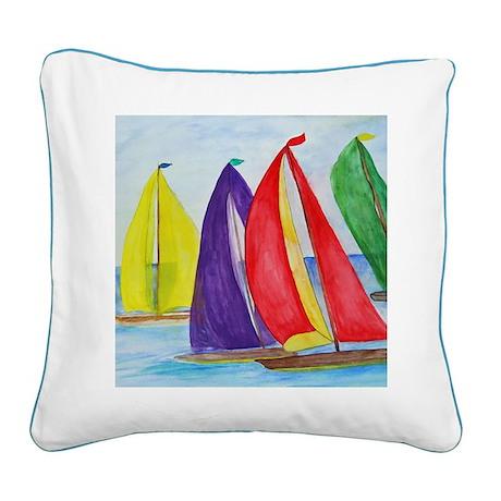 Colorful Regatta Sails Square Canvas Pillow