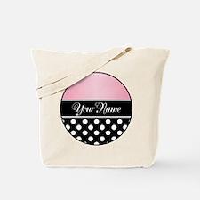 Black Polka Dot Pink Tote Bag