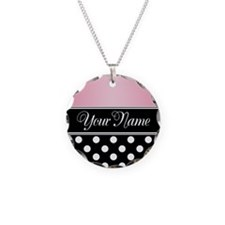 Black Polka Dot Pink Necklace