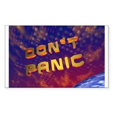 3D Don't Panic Hitchhikers Space Sticker (Rectangu