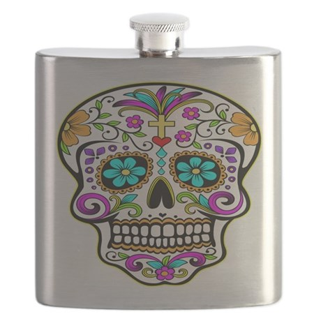 Day Of The Dead Skull 3 Flask