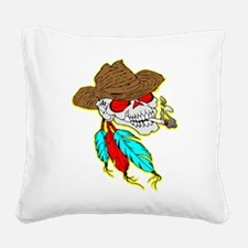wht_Cowboy_Skull_Feathers.png Square Canvas Pillow