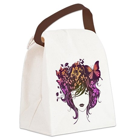 Colorful Girl Canvas Lunch Bag