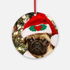 Christmas Pug Dog Ornament (Round)
