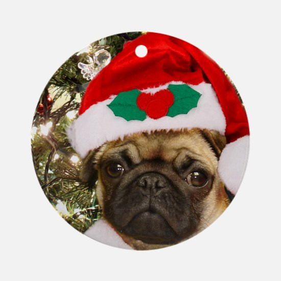Christmas Pug Dog Ornament (Round)