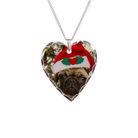 Christmas Pug Dog Necklace Heart Charm
