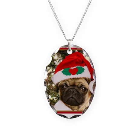 Christmas Pug Dog Necklace Oval Charm