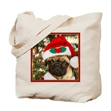 Christmas Pug Dog Tote Bag