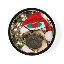 Christmas Pug Dog Wall Clock
