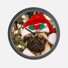 Christmas Pug Dog Wall Clock