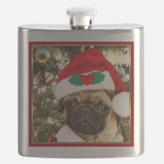Christmas Pug Dog Flask