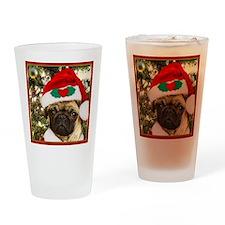 Christmas Pug Dog Drinking Glass