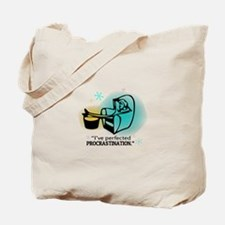 """""""I've perfected procrastination."""" (Teal/Gold) Tote"""