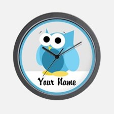 Funny Cute Blue Owl Wall Clock