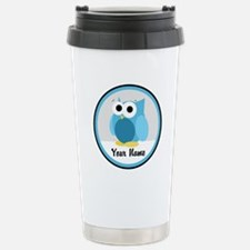 Funny Cute Blue Owl Travel Mug