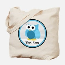 Funny Cute Blue Owl Tote Bag