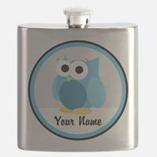 Funny Cute Blue Owl Flask
