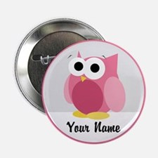 """Funny Cute Pink Owl 2.25"""" Button"""