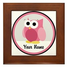 Funny Cute Pink Owl Framed Tile