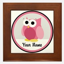Funny Cute Pink Owl Framed Tile