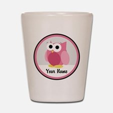 Funny Cute Pink Owl Shot Glass